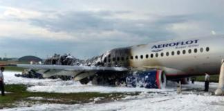 Сгоревший Sukhoi Superjet-100 в Шереметьево
