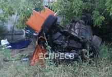 В Киеве авто выехало на встречную полосу и перевернулось на крышу