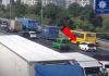 В Киеве на мосту у маршрутки отпали колеса