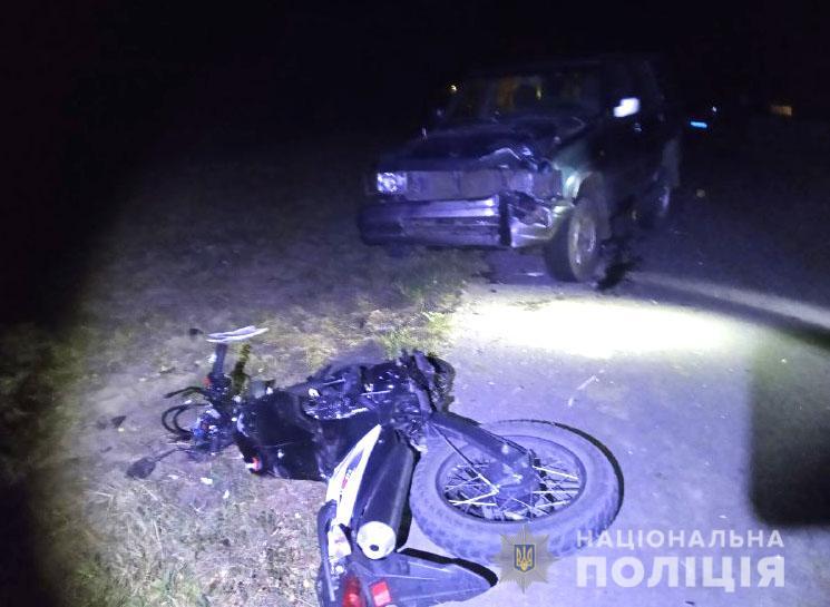 На Рівненщині зіткнулися легковик та мотоцикл: є жертви